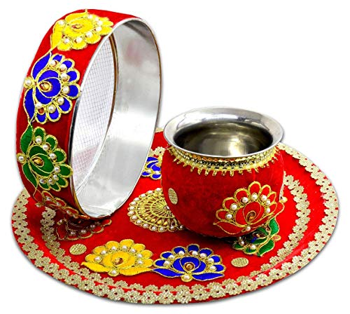 Spiritual World karwachauth thali Set   karwachauth puja thali Set   Pooja Thal   Lota/Kalash   Chhani   Geschichtenbuch   Kalender   Roli Akshat   Diya Batti für Karwa Chauth Poojan
