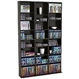 Pemberly Row 8 Shelf Triple Media Storage Rack in Espresso