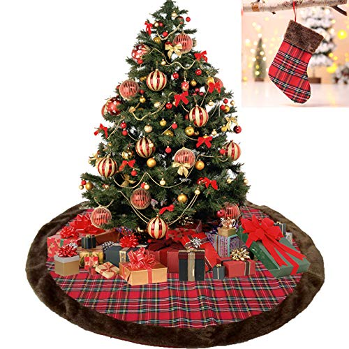 Milopon Christbaumständer Weihnachtsbaum Decke Weihnachtsbaumdecke Baumdecke Weihnachts Plüsch Dekorationen Weihnachtsbaum Abdeckung Runde Christbaumdecke für Weihnachtenbaum Size 100cm