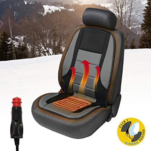 Walser 16792 Beheizbare Sitzauflage, Autositzauflage Hot Stuff Heizbare Sitzkissen, Sitzheizung für Pkw, LKW, Kfz, Auto in Grau/Schwarz