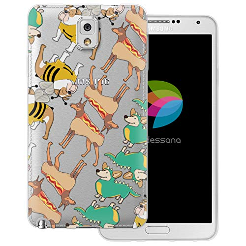 dessana schattige dieren transparante beschermhoes mobiele telefoon case cover tas voor Samsung Galaxy S Note, Samsung Galaxy Note 3, Honden in kostuum