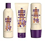 Aussie, Routine Réparation des Cheveux, Repair Miracle Shampooing 300ml + Repair Miracle Après-shampooing 200ml + 3Min Reconstructor Soin Intensif 250ml