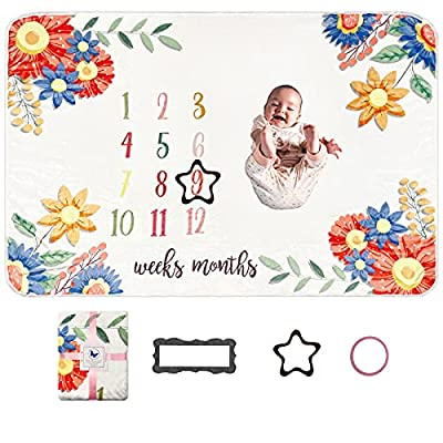 Baby Monthly Milestone Blanket for Baby Girl, Soft Baby Milestone Blanket for Newborn Photos
