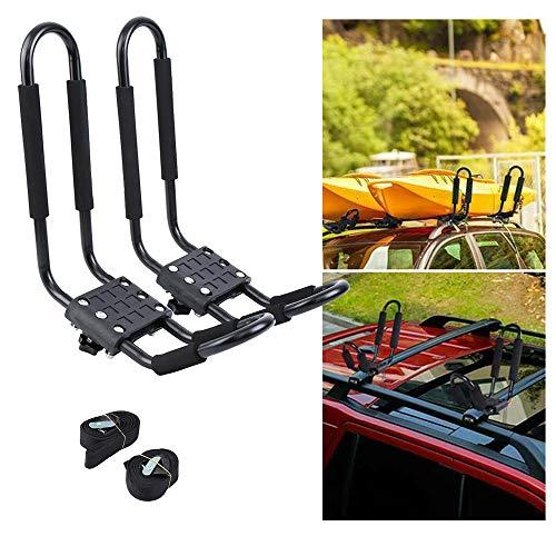 Ambienceo Soporte de Kayak para Bacas, Universal Soporte Forma de J de Coche para Kayaks, Barco, Canoa, Sup, Tabla de Surf y Tabla de Esquí con 2correas Espuma protección(1 par)