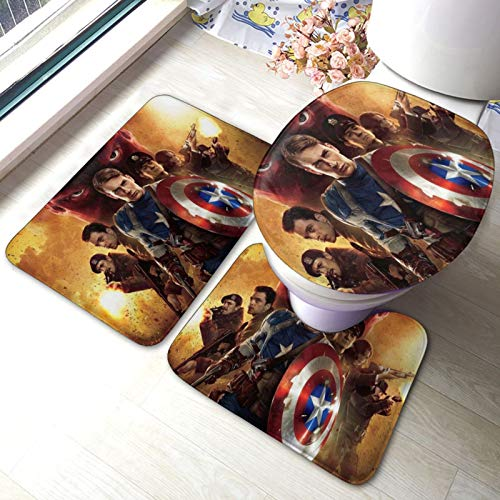 Captain Hero America Badematten-Set, Teppich, Toilettensitzbezug, rutschfeste Matte