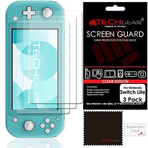 Switch Lite Protection d'Écran [Pack of 3] TECHGEAR Film de Protection Ultra Clair avec Chiffon de Nettoyage et Carte d'Application - Protection Compatible avec Nintendo Switch Lite