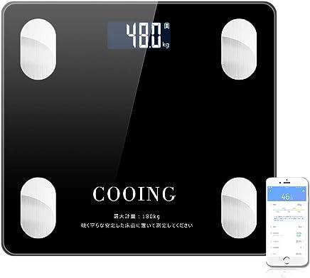 体重?体組成計 体脂肪計 Bluetooth 体重 体脂肪率 骨格筋 筋肉量 推定骨量 体脂水分 BMI 180KG対応 iOS/Android日本語APP (電池付属)