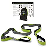 Gradient Fitness Stretching Strap, Premium Quality Multi-loop Strap, Neoprene Padded Handles, 12 Loops, 1.5' W x 8' L (Green/Grey)