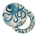 Octopus Vintage Nautical Map Sea Summer Ocean Beach Bar Stool Slipcovers Set of 2, Anti-Slip Padded Washable Elastic Round Chair Cushion Velvet Seat Cover 12 Inch