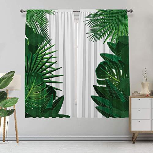 """Tende oscuranti, fantasia esotica hawaiana tropicale foglie di palma con eleganti trattamenti grafici floreali finestra set di 2 pannelli, ogni pannello 66 \""""W x 163\"""" L verde bianco"""