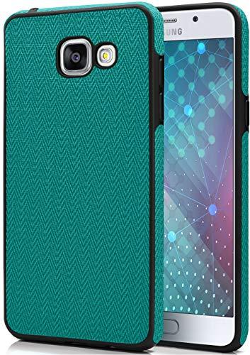 MoEx Cover in Silicone, Inserti in Stoffa Compatibile con Samsung Galaxy A3 (2016) | Ottima Presa, Verde/Nero