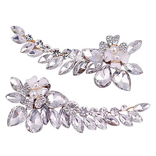 FUJGYLGL Hebilla Decorativa en Zapatos de tacón Alto, Flor de la Flor de Diamantes de imitación, Accesorios de Hebilla de Zapatos Desmontable