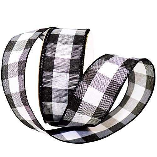 "Morex Ribbon Cambridge Wired Plaid Ribbon, 1.5"" x 50 yd, Black Gingham"