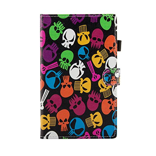 Uliking Fire HD 8 Tablet Case (7th Generation 2017 & 6th Gen 2016 Release PU Leather Flip Stand Wallet with Card Stylus Slot Auto Wake/Sleep Cover for Amazon Fire HD 8 Inch, Skull