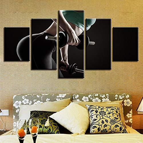QAZWSY 5 stuks dames halters sport canvas schilderij modulaire kunst poster voor woonkamer decoratie