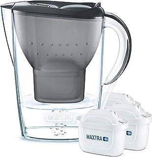 BRITA Marella Paquete Inicial de Jarra de Filtro de Agua, Incluye 3 MAXTRA +, Grafito-Ajuste de Nevera, Gris, 2.4 litros, 3