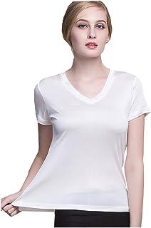 METWAY Women's Short Sleeve Mulberry Silk V-Neck T-Shirt