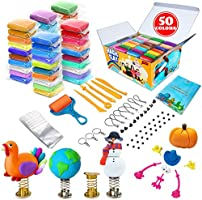 essenson Modeling Clay Kit - 50 Colors Air Dry Magic Clay, Soft & Ultra DIY Molding Clay with Tools, Animal Decoration...