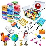 Kit de arcilla de modelado – 50 colores de arcilla mágica seca al aire, suave y ultra DIY arcilla moldeadora, manualidades para niños, el mejor regalo para niños y niñas