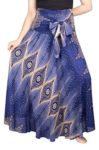 LOFBAZ Long Maxi Skirts for Women Boho Gypsy Dress Bohemian Hippie Dresses African Clothing Womens Indian Wrap Skirt Design #6 Blue OS