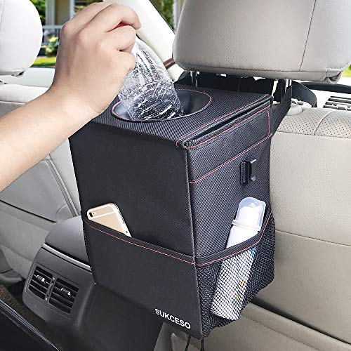 SUKCESO Car Trash Can with Lid. Premium Collapsible Car Trash Bag Hanging. 100% Leak Proof Trash Bin with 3 Storage Pockets (Black, 2 Gallon)