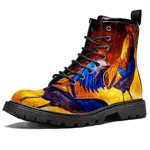 LORVIES Coq Animal Coq Art Coq Pintura Botas altas para Hombres Zapatos de Cordones de Cuero Casual, (multicolor), 44.5 EU