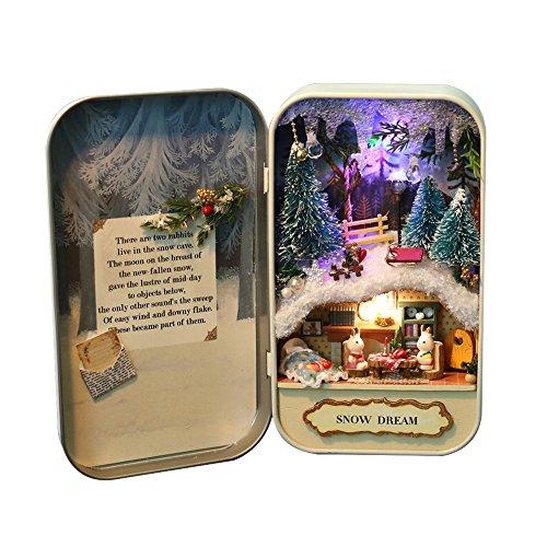 Decdeal DIY Puppenhaus Mini Welt in Box Theater Haus mit LED Licht Geschenk Spielzeug für Kinder und Freunde