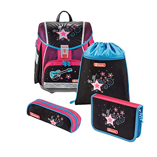 """Step by Step Schulranzen-Set Touch 2 """"Popstar"""" 4-teilig, rosa-schwarz, Sterne-Design, ergonomischer Tornister mit Reflektoren, für Mädchen 1. Klasse, 21L"""