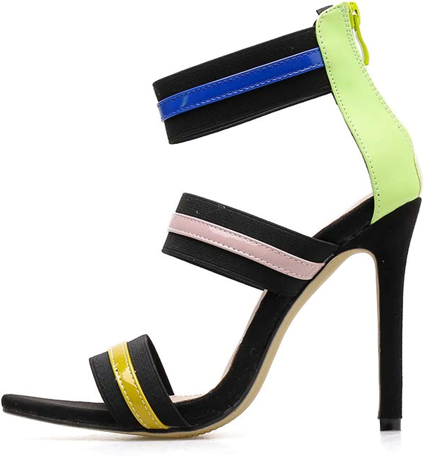 Women's Sandals - Sexy Elasticated Pointed High-Heeled Roman colorblock Nightclub Women's shoes