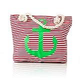 Ancient Wisdom - Bolsa de playa grande con cremallera y bolsillo interior, para la playa, para la compra, para mujer, color Green Anchor.