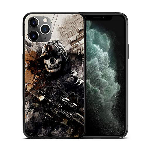 Ghost Shooter Skull Face Winner War Game Zone Famous Shooting Online Game Design Hard PC 3D Relief Protective Cover Case for iPhone Devices (iPhone SE 2020)