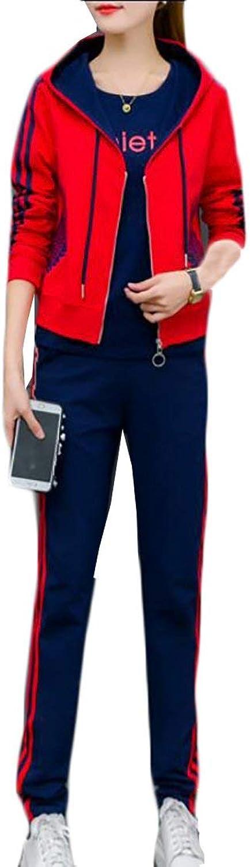 Alion Women's Casual Solid color Drawstring Longsleeves Hooded Sweatshirt Suit