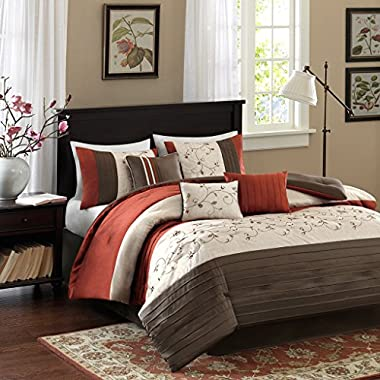 Madison Park Serene Cal King Size Bed Comforter Set Bed In A Bag - Orange, Embroidered – 7 Pieces Bedding Sets – Faux Silk Bedroom Comforters