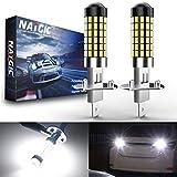 NATGIC Lampadine H1 LED Xenon White 1800LM 3014SMD Chipset 78-EX con obiettivo Proiettore per luce di marcia diurna Luce per guida automobilistica, 6500K, 12-24V (2-Pack)