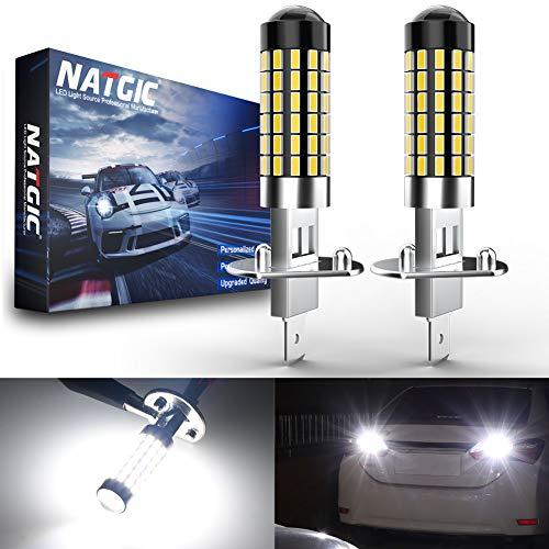 NATGIC H1 Bombillas LED Xenon White 1800LM 3014SMD 78-EX Chipsets con proyector de lentes para luz de niebla Luz de circulación diurna, 6500K, 12-24V (paquete de 2)