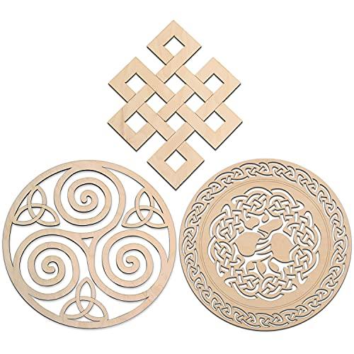 Fourth Level 12' Celtic Knot Wooden Wall Art Set B - 3pcs (Triskelion Celtic Knot, Tree of Life, Infinity Knot) Celtic Art, Irish Symbols,Celtic Triple Spiral, Celtic Decor, Irish Wall Art, Triple Helix Spiral