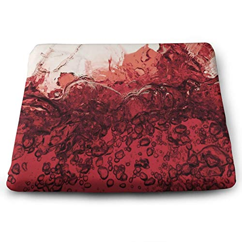 Red Wine Splash Burgundy Personalized Chair Seat Cushions Pads Set of 4 Memory Foam Office Dining Kitchen Soft Chair Cushion for Pressure Relief, Wheelchairs, Car, Outdoor, Floor, Lawn, Non Slip