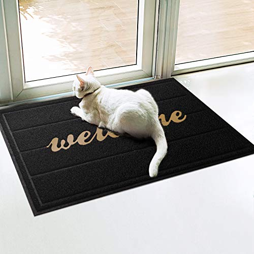 WOHOUS Universal Door Mats, 23.5'' x 35'' Heavy Duty Rubber Door Mats for Home Entrance, Anti-Slip Durable Doormats for Indoor and Outdoor Use, Waterproof, Easy Clean, Low-Profile Black