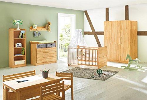 Pinolino Kinderzimmer Natura breit groß, 3-teilig, Kinderbett , breite Wickelkommode mit Wickelansatz und großer Kleiderschrank, Buche massiv