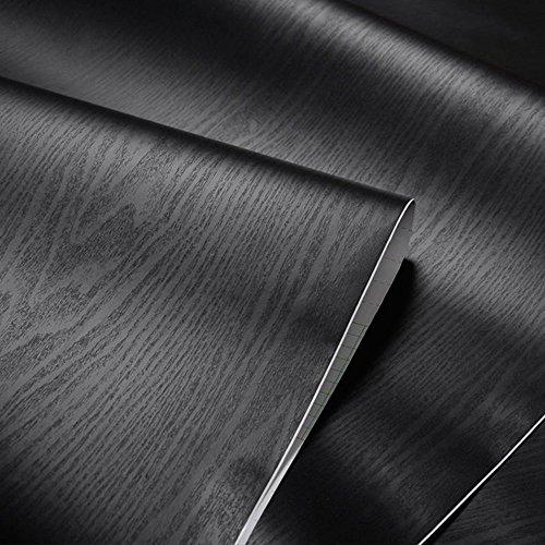 Negro con textura grano de madera papel de contacto - Vinilo autoadhesivo para maletero para cuarto de baño gabinetes de cocina estantes de cajón mesa artes manualidades para 60 x 300 cm