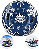 Tubos de nieve inflables de 47 pulgadas, trineo con asas, resistente a los arañazos, resistente a las heladas, ideal para niños y adultos, diversión en invierno al aire libre
