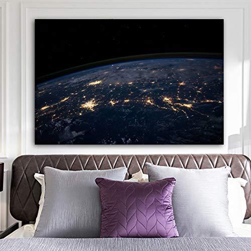 NIMCG Pintura sobre Lienzo Carteles e Impresiones Globo terráqueo Cuadros de Pared para Dormitorio Imagen Decorativa para el hogar 70x100cm (Sin Marco)