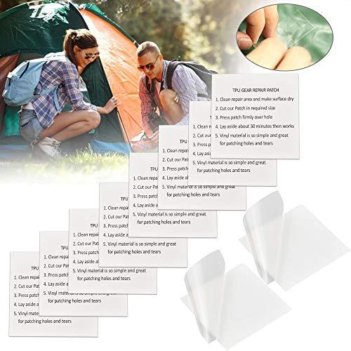 BUZIFU Tältreparationstejp 10 st TPU tälttejp transparent hållbar tejp vattentät lappar reparera klistermärke utomhus utrustning lapp uppblåsbar reparationssats för camping tält markiser pooler uppblåsbara madrasser