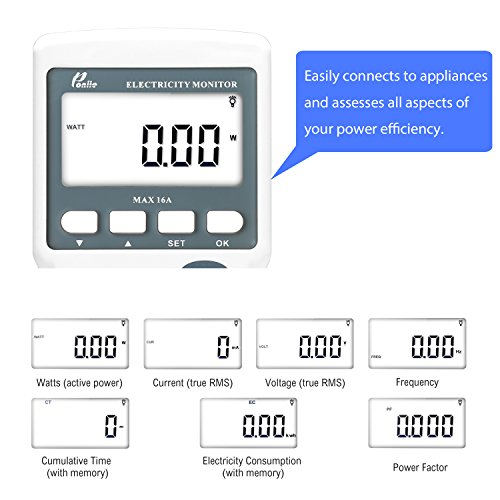 Poniie PN2000 Plug-in Kilowatt Electricity Usage Monitor Electrical Power Consumption Watt Meter Tester w/ Extension Cord