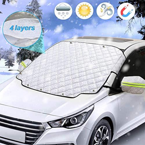 UKEER Frontscheibenabdeckung Auto Scheibenabdeckung Windschutzscheibe Abdeckung Magnet Faltbare Auto Abdeckung für Windschutzscheibe, gegen Schnee/Frost/EIS/Staub/UV-Schutz