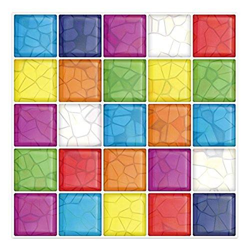 Cocotik 25,4x 25,4cm anti-mold Peel and Stick Wall tile in 3D colorato–Confezione da 6