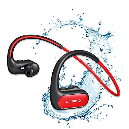Auriculares inalámbricos, banda para el cuello con Bluetooth IPX8, resistentes al agua, con cancelación de ruido, auriculares deportivos para correr, ciclismo, gimnasio, buceo y agua (rojo)