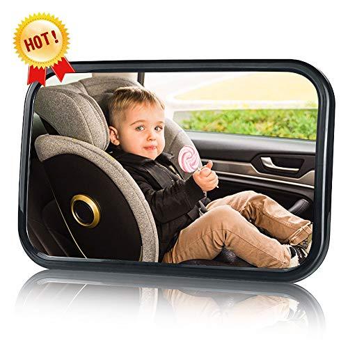 Phiraggit Espejo de coche para bebé, espejo de asiento trasero irrompible para coche de bebé con un gran campo de visión, espejo de bebé de rotación flexible de 360 ° sin tornillos