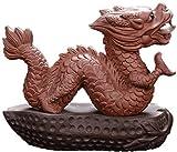 BWHTY Zisha Feng Shui dragón Mascota Escultura de té Estatua Bandeja Riqueza Adornos de té Buena Suerte decoración de Oficina en casa Regalo 0827