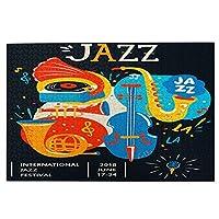 1000ピースパズル、ジャズのポスター。クリエイティブモダンバナー、音楽コンサートやフェスティバルのチラシ、大人と子供のための絵パズルゲーム家族の結婚式の卒業ギフト